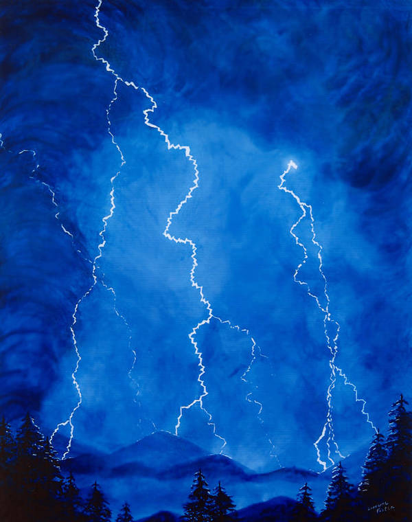 Lightening Art Print featuring the painting Lightening Storm In The Mountains by Lorraine Foster