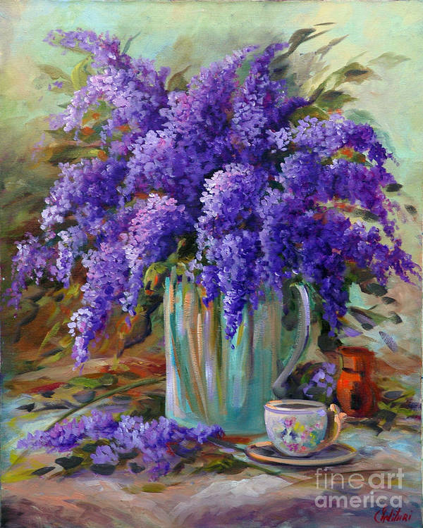 Florals Art Print featuring the painting Lilacs Still Life by Gail Salitui