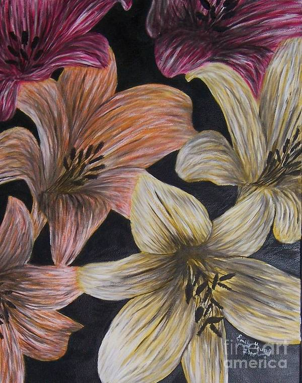 Lily Art Print featuring the painting Lilies by Emily Young
