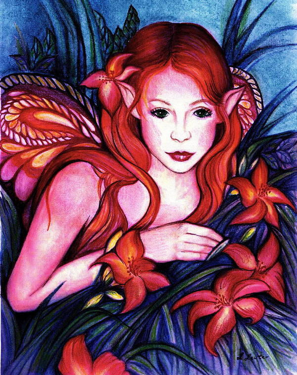 Fairy Art Print featuring the painting Lillyfaire by L Lauter