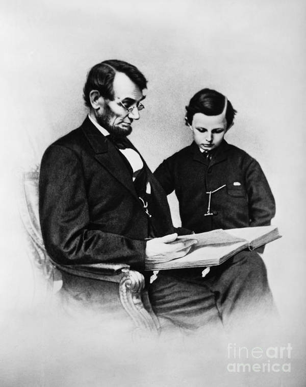 History Print featuring the photograph Lincoln Reading To His Son by Photo Researchers