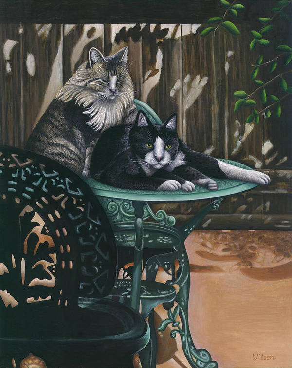 Black And White Cat Art Print featuring the painting Linda's Patio Cats by Carol Wilson