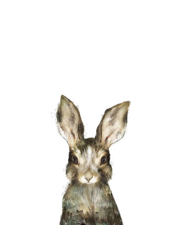 Rabbit Art Print featuring the painting Little Rabbit by Amy Hamilton