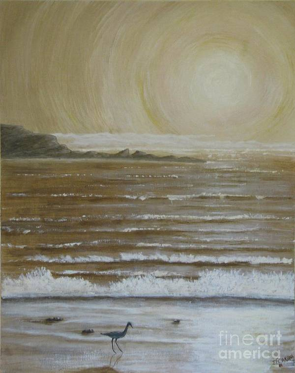 Beach Art Print featuring the painting Lonely Beach Sunrise by Dana Carroll