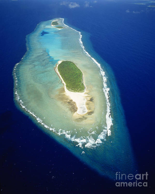 Aerial Art Print featuring the photograph Losiep Atoll by Mitch Warner - Printscapes