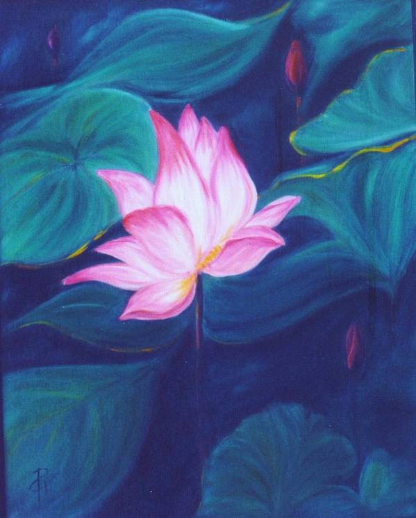 Floral Art Print featuring the painting Lotus by Dina Holland