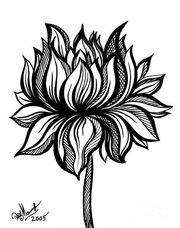Lotus flower black white drawing art print by sofia metal queen lotus flower art print featuring the drawing lotus flower black white drawing by sofia mightylinksfo