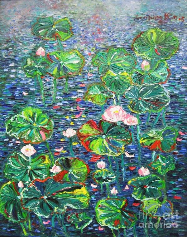 Water Lily Paintings Art Print featuring the painting Lotus Flower Water Lily Lily Pads Painting by Seon-Jeong Kim
