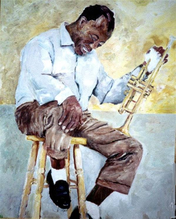 Jazz Muciciansoil Paintings Portraits Louis Armstrong- Pops Art Print featuring the painting Louis Armstrong- Pops by Udi Peled