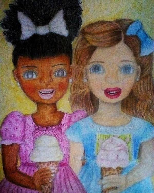 Girl Art Print featuring the drawing Love And Friendship by Sunshine Amos