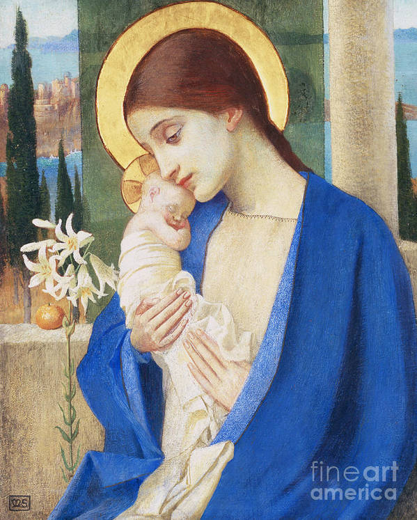 Virgin Mary; Infant Christ; Jesus; Halo Art Print featuring the painting Madonna And Child by Marianne Stokes