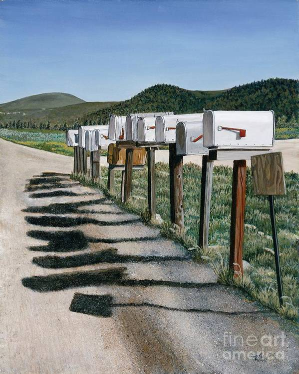 Mail Boxes Art Print featuring the painting Mail Boxes by Jiji Lee