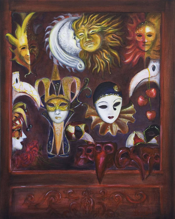Masks Art Print featuring the painting Making Faces II by Nik Helbig