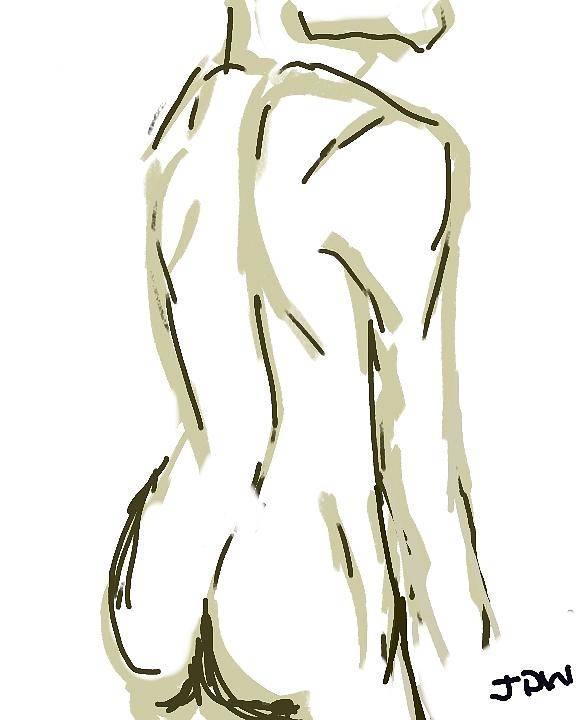 Nude Art Print featuring the digital art Male Nude 1 by Jill Wilhelm