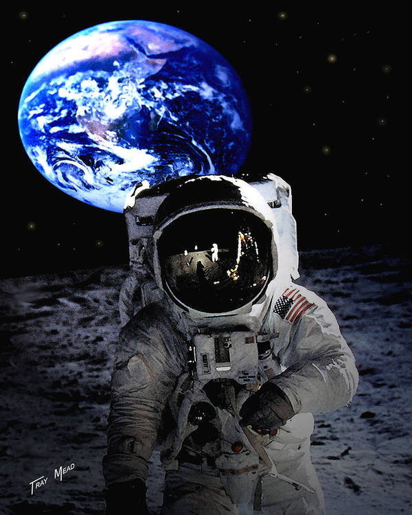 Moon Art Print featuring the photograph Man On The Moon by Tray Mead