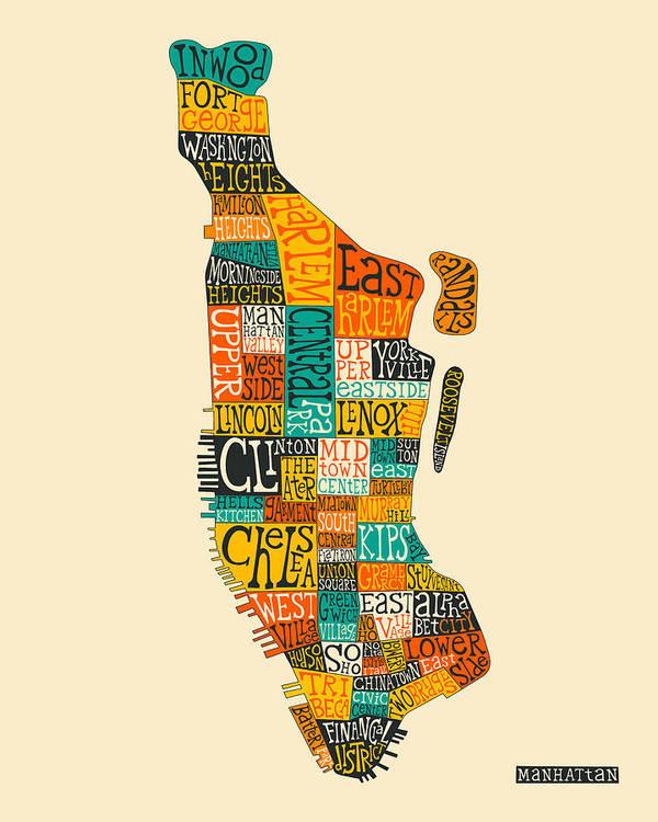 picture regarding Printable Maps of Manhattan named Manhattan Regional Map Typography Artwork Print