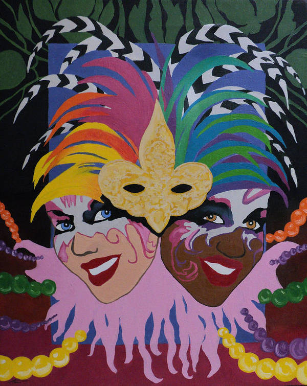 Expressionism Art Print featuring the painting Mardi Gras In Colour by Angelo Thomas