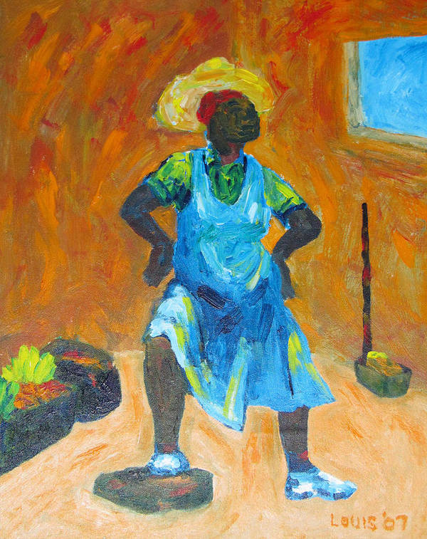 Jamaica Art Print featuring the painting Market Vendor by Louis Stephenson