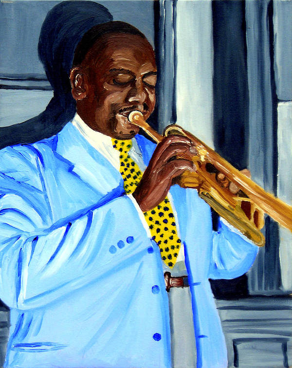 Street Musician Art Print featuring the painting Master Of Jazz by Michael Lee