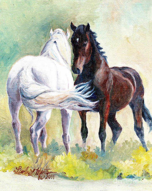 Stallions Art Print featuring the painting Meet And Greet by Linda L Martin