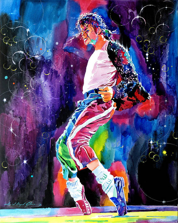 Michael Jackson Print featuring the painting Michael Jackson Dance by David Lloyd Glover
