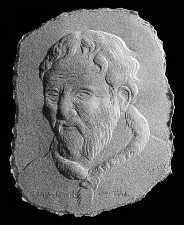 Portrait Art Print featuring the relief Michelangelo by Suhas Tavkar