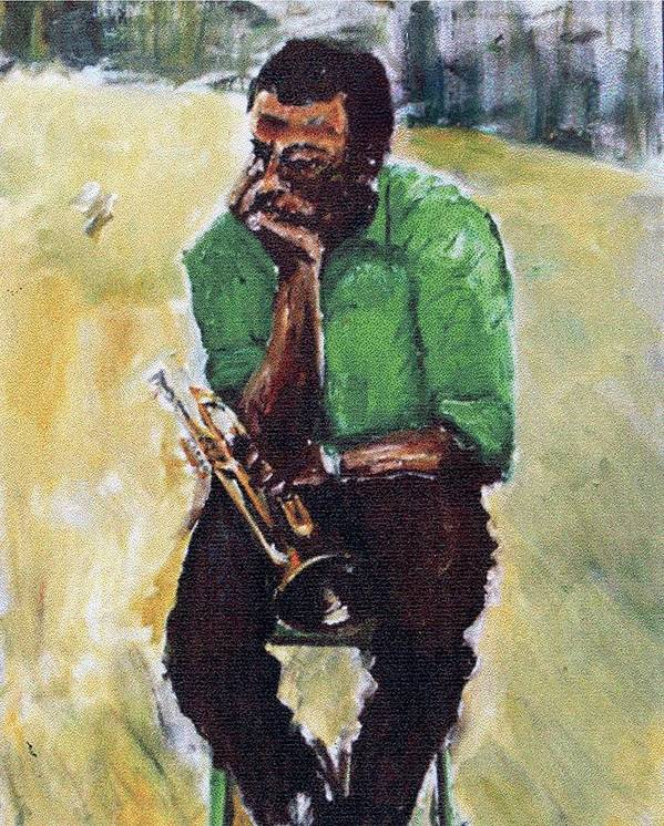 Jazz Oil Paintings Portraits Miles Davis Art Print featuring the painting Miles Davis With Green Shirt by Udi Peled
