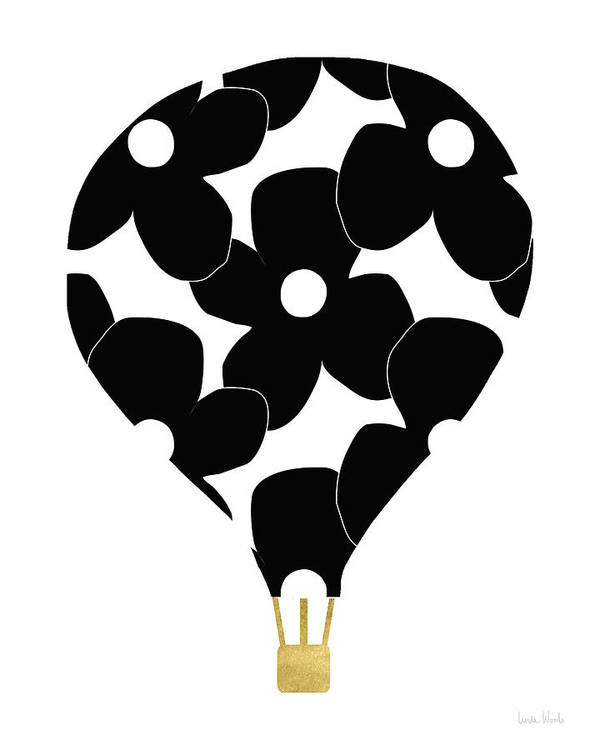 Hot Air Balloon Art Print featuring the digital art Modern Floral Hot Air Balloon- Art By Linda Woods by Linda Woods