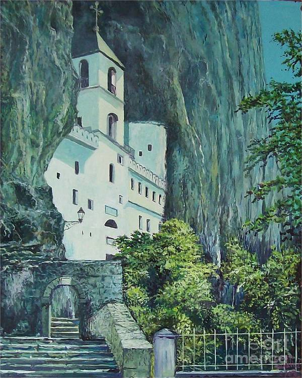 Architecture Art Print featuring the painting Monastery Ostrog Montenegro by Sinisa Saratlic
