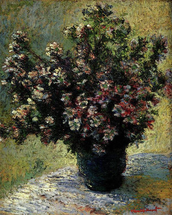 Monet Art Print featuring the digital art Monet Claude Vase Of Flowers by PixBreak Art