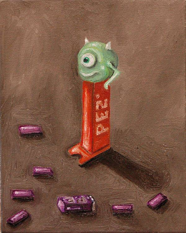 Pez Art Print featuring the painting Monster Pez by Leah Saulnier The Painting Maniac