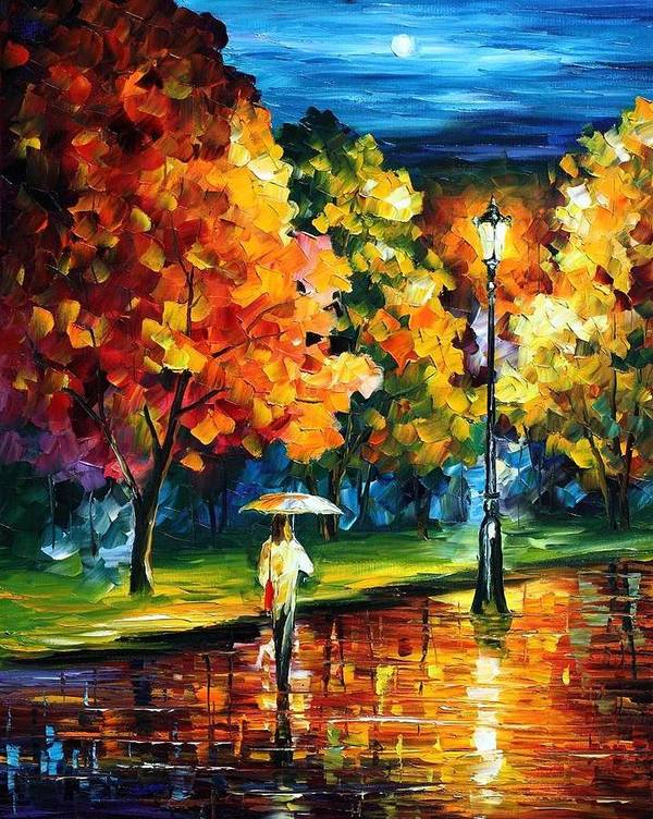 Afremov Art Print featuring the painting Moony Night by Leonid Afremov