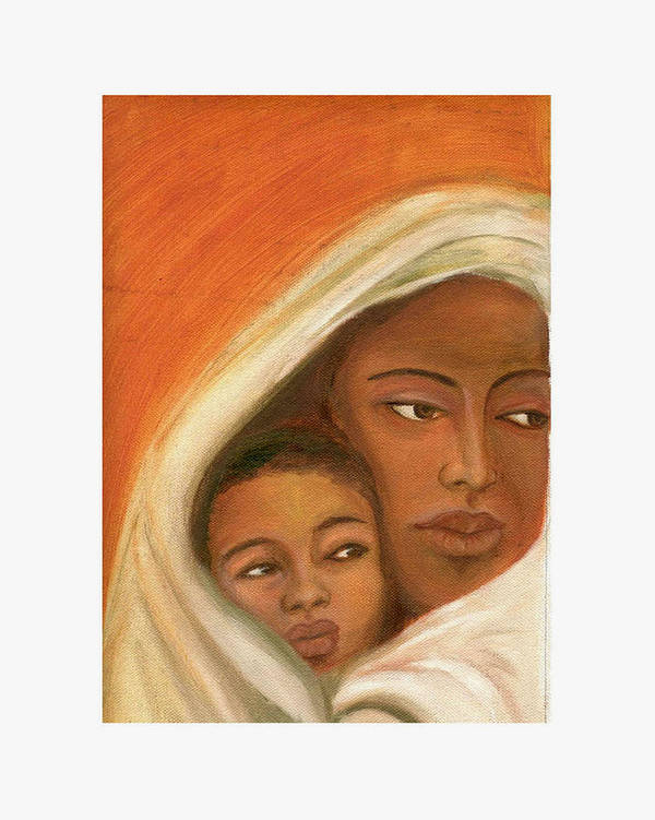 Figuretive Mother And Child Art Print featuring the painting Mother And Child by Asha Sudhaker Shenoy