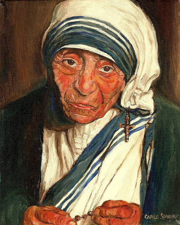 Mother Teresa Print featuring the painting Mother Teresa by Carole Spandau