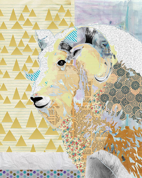 Mountain Art Print featuring the mixed media Mountain Goat Collage by Claudia Schoen