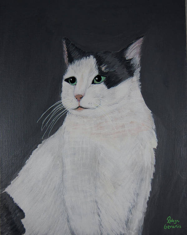 Calico Cat Kitty Love Play Playful Fun Happy White Gray Grey Pink Robyn Geranis Art Print featuring the painting My Best Side by Robyn Geranis