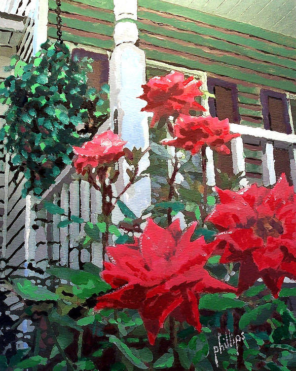 Rose Art Print featuring the painting My Favorite Corner by Jim Phillips