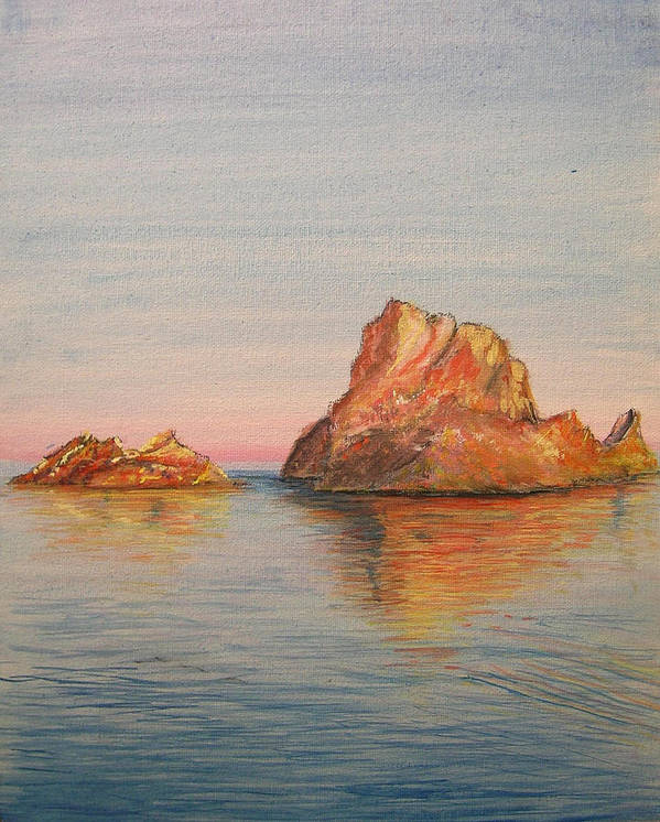 Island Art Print featuring the painting Mystical Island Es Vedra by Lizzy Forrester