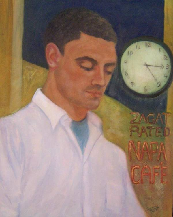 Portrait Of A Young Waiter Art Print featuring the painting Napa Waiter by Suzanne Reynolds