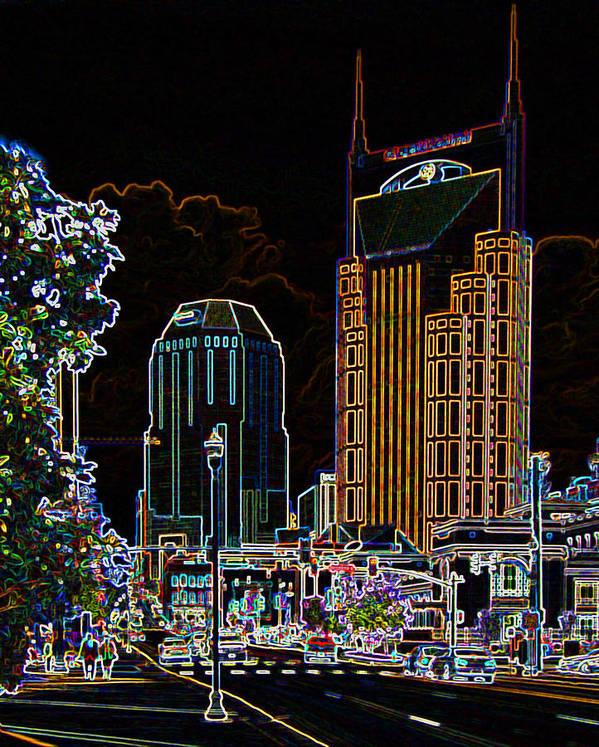 Nashville Art Print featuring the digital art Nashville In Neon by Garland Johnson