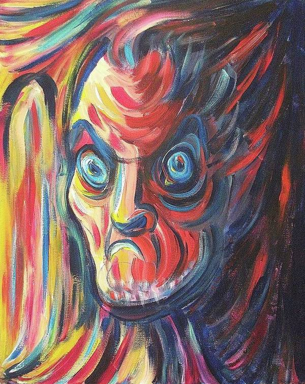 Angry Print featuring the painting Neighbor by Suzanne Marie Leclair