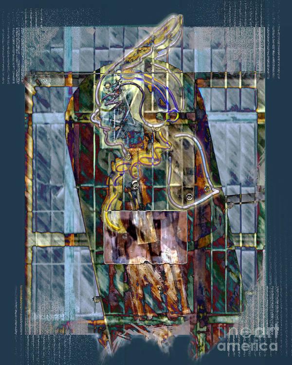 Indian Art Print featuring the digital art Neon Princess by Chuck Brittenham