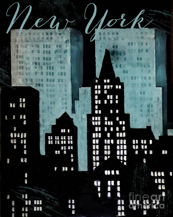 New York Art Print featuring the painting New York Art Deco by Mindy Sommers