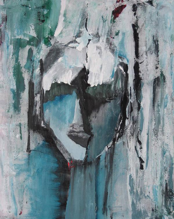 Abstract Acrylic Blue Darkestartist Nobody Portrait Darkest Artist Face Art Print featuring the painting Nobody by Darkest Artist