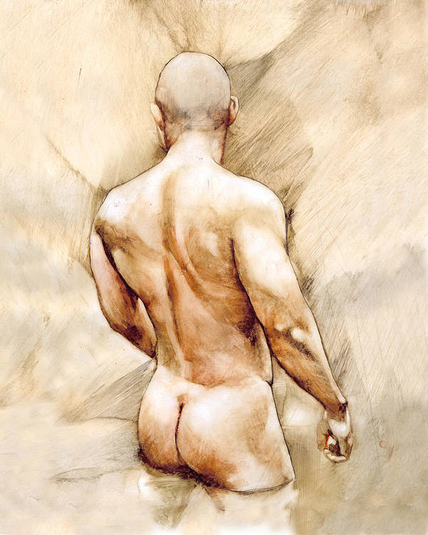 Man Art Print featuring the painting Nude 40 by Chris Lopez