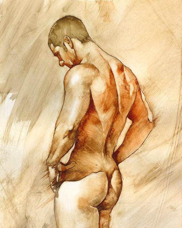 Man Art Print featuring the painting Nude 41 by Chris Lopez