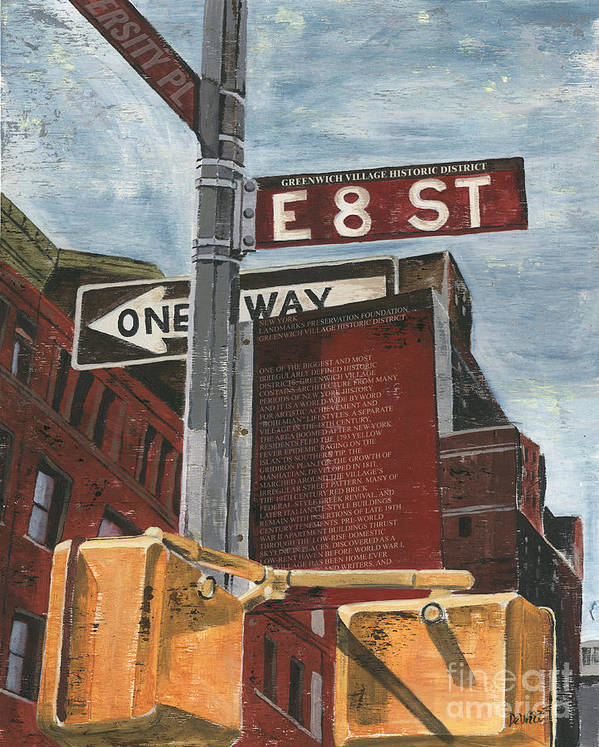 Nyc Print featuring the painting Nyc 8th Street by Debbie DeWitt
