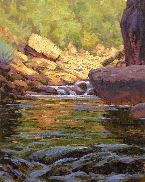 Water Scene Art Print featuring the painting Oak Creek Tributary by Cody DeLong