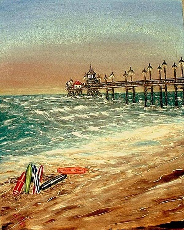 Ocean Sirfboards  Pier Art Print featuring the painting Ocean Pier by Kenneth LePoidevin