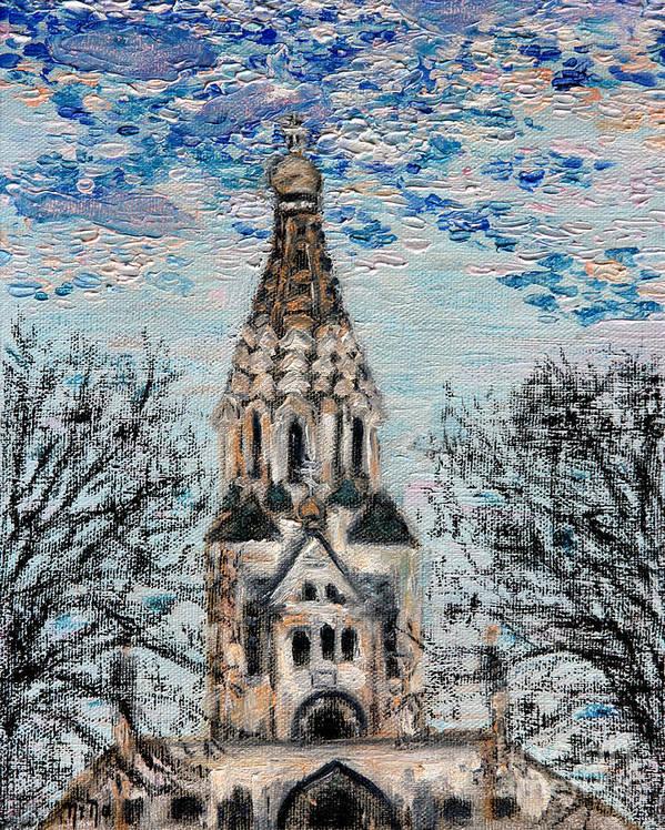 Sky Art Print featuring the painting October Sky Of Leipzig by Nina Nabokova